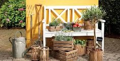 Wouldn& every gardener like a nice garden bench? Woodworking For Dummies, Woodworking Shop Layout, Woodworking Store, Woodworking Projects Plans, Spring Projects, Diy Art Projects, Garden Projects, Garden Bench Plans, Easy Fence
