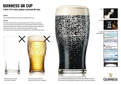 """A QR code is revealed (and readable) when the cup is filled with Guiness, only! - """"Guiness QR Cup"""" ambient advertising - by agency BBDO, New York"""