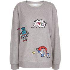 Mira Mikati Grey Jersey Patch Appliqué Sweatshirt (215.990 CLP) via Polyvore featuring tops, hoodies, sweatshirts, grey shirt, patchwork shirt, patch shirt, stitched jerseys y reversible jersey
