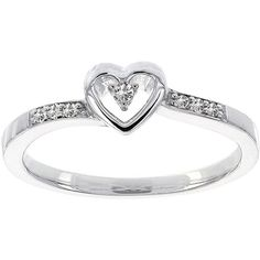 Lumastar Diamond-Accent Sterling Silver Heart Promise Ring ($180) ❤ liked on Polyvore featuring jewelry, rings, ariana grande, heart jewellery, heart shaped jewelry, heart ring, sterling silver jewelry and diamond accent jewelry