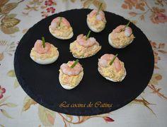 La cocina de Catina: Huevos rellenos de atún y langostinos Chefs, Tapas, Canapes, Eggs, Breakfast, Desserts, Food, Candy Popcorn, Cooking Recipes