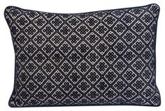 Blue & White Woven Tribal Pillow - Melissa Levison Antiques/OKL = LIVING ROOM TOSS