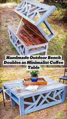 Diy Furniture Couch, Diy Furniture Plans Wood Projects, Diy Outdoor Furniture, Woodworking Projects Diy, Pallet Furniture, Pallet Projects, Outdoor Decor, Furniture Storage, Diy Outdoor Table