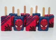 Spiderman rice Krispy treats. Spiderman Birthday Cake, Spiderman Theme, Avengers Birthday, Superhero Birthday Party, Birthday Treats, Birthday Favors, 4th Birthday Parties, Birthday Party Decorations, 5th Birthday