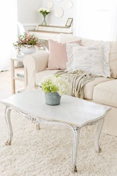 Spring Home Tour | Part 2 - Tidbits Shabby Chic Kitchen, Shabby Chic Homes, Shabby Chic Decor, Rustic Decor, Furniture Slipcovers, Shabby Chic Furniture, Cottage Furniture, Distressed Furniture, Upholstered Furniture
