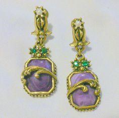 Vintage Purple Marbled Glass Drop Earrings by BorrowedTimes