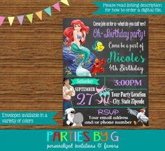 Little Mermaid Chalkboard Birthday Party Invitations Personalized