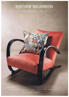 Matthew Williamson Samana collection for Osborne and Little Gp&j Baker, Osborne And Little, Coral Fabric, Samana, Matthew Williamson, Wingback Chair, Rocking Chair, Mid Century, Product Launch
