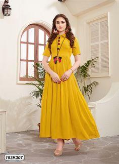 new style kurti New Lehenga Design, Lehenga Designs, Fashion Wear, Fashion Outfits, Fashion Clothes, Designer Kurtis Online, Plus Size Summer Fashion, Cotton Gowns, Party Wear Kurtis