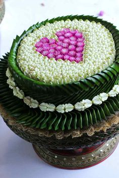 Thai #flower heart shaped on tray with pedestal...