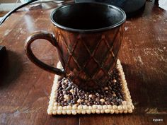 The Bean Coaster  Speckled Mustard & Brown by DesignsByCaro, $12.00