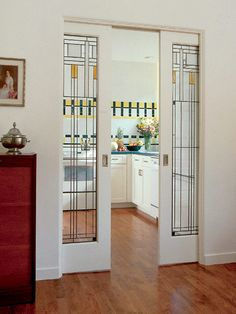Gotta put some pocket doors in the new house! Craftsman Style Pocket Doors Pocket doors for remodel in den. Style At Home, Glass Pocket Doors, Glass Doors, Doors With Glass Panels, Stained Glass Door, Craftsman Style Homes, Home And Deco, Sweet Home, New Homes