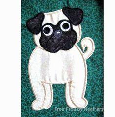 pug embroidery applique design - Bing Images