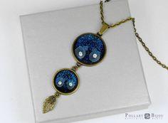 Pendant cabochon, Nebula jewelry, Glitter pendant, Jewelry cabochon, Bronze pendant, Glass dome Sparkly jewelry by PollartBijouSoutache on Etsy