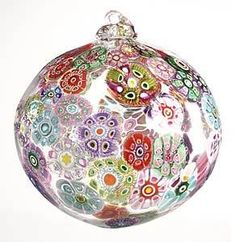 glass ball ornamented with murrini flowers