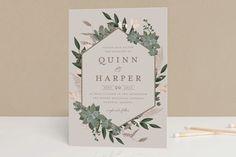 """Succulent Surround"" - Foil-pressed Wedding Invitation Petite Cards in Tuxedo by Susan Moyal. #weddinginvitation"