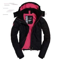 Shop Superdry Womens Arctic Hooded Pop Zip SD-Windcheater Jacket in Black/raspberry. Buy now with free delivery from the Official Superdry Store. Nylons, Andrew Marc, Daughter Love, Superdry, Fabric Material, Arctic, Motorcycle Jacket, Hoods, Jackets For Women