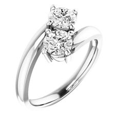 1.0 Ct Diamond Two Stone Love Engagement Ring 14k White Gold – Goldia.com
