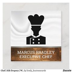 Chef | Silk Drapery | Wood Background Square Business Card