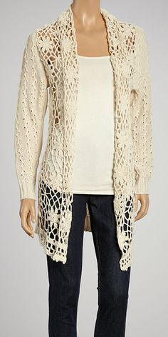 Beige Crochet Open Duster