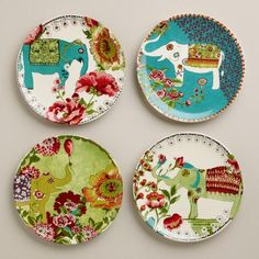I love the whimsy and playfulness of these plates.Nomad Elephant Plates, Set of Cost Plus World Market is full of fabulous items this spring! Ceramic Plates, Ceramic Pottery, Decorative Plates, Decorative Bottles, Elephant Icon, Elephant Stuff, Elephant Walk, Arte Fashion, World Market