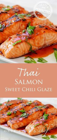Broiled Salmon with Thai Sweet Chili Glaze Gebratener Lachs mit Thai Sweet Chili Glaze The post Gebratener Lachs mit Thai Sweet Chili Glaze & SEAFOOD RECIPES appeared first on Salmon recipes . Seafood Recipes, New Recipes, Cooking Recipes, Healthy Recipes, Cooking Bacon, Recipies, Recipes Dinner, Cooking Fish, Vegetarian Recipes