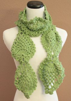 Womens Chunky Scarf Crochet Lace Pineapple Motif Lime