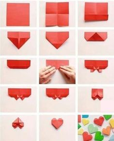 Origami paper hearts — can be used as bookmarks, love notes, package decoration, strung together in a chain…many creative option! (Instructions are in Spanish) - balconydecoration. how to make origami paper heart san valentin step by step diy Easy ori Diy Origami, Paper Crafts Origami, Useful Origami, Origami Stars, Dollar Origami, Origami Ideas, Origami Folding, Origami Decoration, Origami Garland