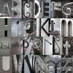 Alphabet Letter Photography Home Decor Art- The Alfabet Squared Collage (unframed) Alphabet Photos, Alphabet Art, Letter Art, Hidden Alphabet, Letter Collage, Alphabet Design, Alphabet Soup, Alphabet Photography, Art Photography
