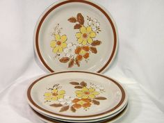 Set of Four Vintage Yellow Flower Plates by FoolishMagpieFinds, $14.75