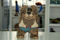 Cat Sculpture Hand painted cat Pottery Cat Cat by GappaPottery