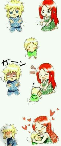Kushina, Minato y Naruto