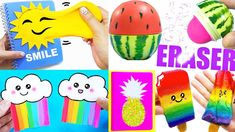 In this video I'll show you how to make 12 super cool and fun summer-inspired school projects: watermelon pencil case, glitter pineapple notebook, ice-cream . Diy Crafts For Adults, Fun Diy Crafts, Foam Crafts, Diy Craft Projects, Diy For Kids, Teen Projects, Teen Crafts, Diy Edible School Supplies, Cute School Supplies