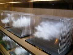 "Detail of ""La Vitrina Cloud Collection (London),"" 2011 (wood, glass, acrylic and solid surface) by Leandro Erlich at Sean Kelly Gallery."