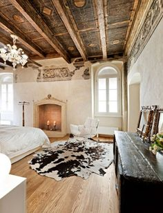 Mixed textures create a dramatic interior