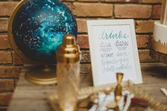 drink menu - photo by Bri Costello Photography http://ruffledblog.com/celestial-inspired-wedding-shoot