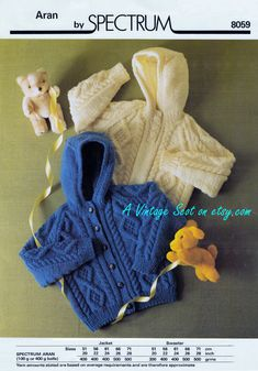 Toddler / Child's DK 8ply Light Worsted Aran Hooded Sweater / Jacket 20 - 28 ins - pdf of Vintage Knitting Patterns