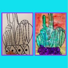 Cactus with watercolor, alcohol, and salt-Kim & Karen: 2 Soul Sisters (Art Education Blog): Art Camp-Growing a Cactus or 2 with Watercolor, Alcohol, and Salt