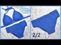Купальник крючком. 2/2 мастер класс. Crochet swimsuit - YouTube Crochet Bra, Crochet Diagram, Crochet Clothes, Crochet Dresses, Swimwear Cover Ups, Monokini, Beachwear, Dressing, Swimsuits