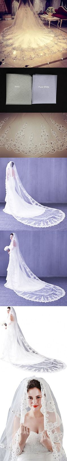 Leekida Ivory Long Cathedral Crystal Wedding Veils with Free Comb