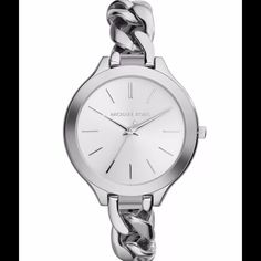 Michael Kors silver runway twisted chain watch This silver stainless steel Michael Kors watch is as sleek as they come. All silver, with a twisted chain band. Slim face. Looks AMAZING paired with all different kinds of bracelets. (Check mine out!) $195 tags attached and it also comes in the original Michael Kors watch case with the authenticity//warranty booklet. Michael Kors Accessories Watches