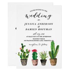 Boho Watercolor Succulents Wedding RSVP Invitation - wedding invitations cards custom invitation card design marriage party