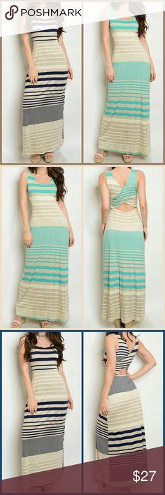 Maxi Dress(2 Colors) Sleeveless back cut out detail striped jersey maxi dress. Dress really stretches  Made in the USA 69% RAYON 26% POLYESTER 5% SPANDEX  S 14in across bust M 15in across bust L 16in across bust Jade, Cream, Tan or Navy, Cream, Tan   I wear a Lrg in tops and dresses 38D and the Lrg fits me just fine. I actually prefer the Med it's more fitted. Dresses Maxi
