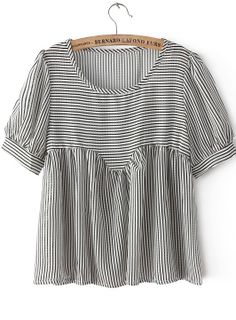 Black+Short+Sleeve+Striped+Loose+Blouse+15.33