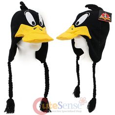 c55403e0330 Looney Toon Daffy Duck Laplander Beanie Hat - 3D Big Face Peruvian Custume  Cap  LooneyToon