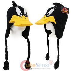 Looney Toon Daffy Duck Laplander Beanie Hat - 3D Big Face Peruvian Custume Cap #LooneyToon