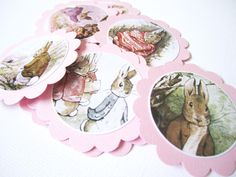 If you love the tale of Rabbit, you will love this beautiful bunny rabbit favor tags made from reproduction of vintage children storybook. This set is perfect for a girl theme, either is a birthday or a baby shower, or for embellishment to your project. You will receive 12 rabbit gift tags in pin...