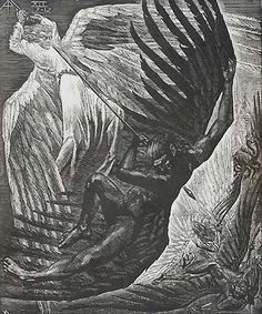 """Book of Revelation, XII (7-12), War in Heaven - VICTOR DELHEZ  Belgian, (1901-1985)  Wood engraving, 1957, small edition. 15 5/8 x 13 in. Signed and titled in pencil. Initialed in the block. Inscribed in pencil """"epreuve d'artiste"""". A fine impression in fine condition with full margins.     $1,200"""