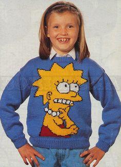vintage Adult & Childs LISA SIMPSON jumper knitting by borisbeka, $4.00