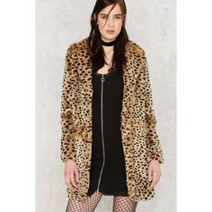 Spot the Difference Faux Fur Leopard Coat ($88) ❤ liked on Polyvore featuring outerwear, coats, oversized coat, polka dot coat, leopard print coat, fake fur coats and leopard print faux fur coat
